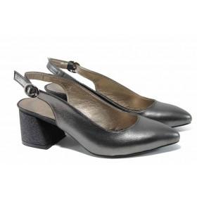Дамски обувки на среден ток - висококачествена еко-кожа - сиви - EO-12460