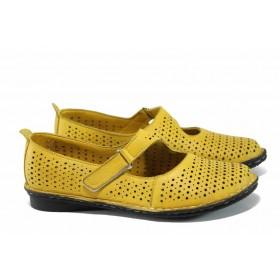 Равни дамски обувки - естествена кожа - жълти - EO-12452