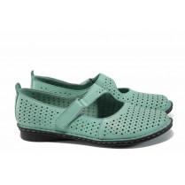 Равни дамски обувки - естествена кожа - зелени - EO-12453
