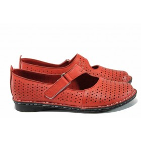 Равни дамски обувки - естествена кожа - червени - EO-12455