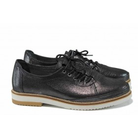 Равни дамски обувки - естествена кожа - черни - EO-12474
