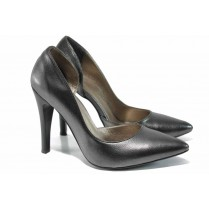 Дамски обувки на висок ток - висококачествена еко-кожа - сребро - EO-12512