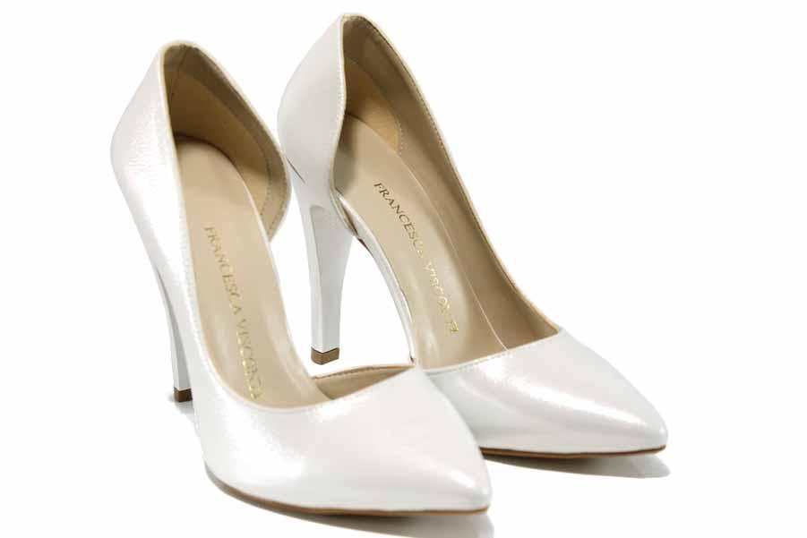 Дамски обувки на висок ток - висококачествена еко-кожа - сребро - EO-12513