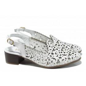 Дамски обувки на среден ток - естествена кожа - бели - EO-12514