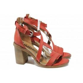 Дамски сандали - естествена кожа - червени - EO-12492