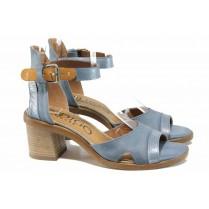 Дамски сандали - естествена кожа - сини - EO-12502
