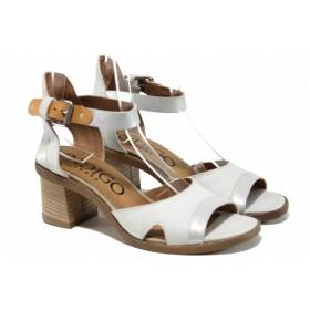 Дамски сандали - естествена кожа - бели - EO-12503