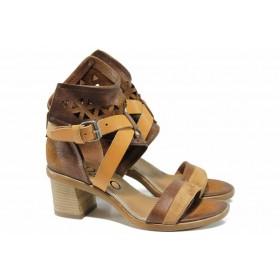 Дамски сандали - естествена кожа - кафяви - EO-12494