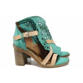Дамски сандали - естествена кожа - зелени - EO-12504
