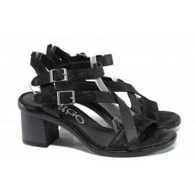 Дамски сандали - естествена кожа - черни - EO-12498