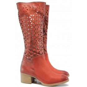 Летни ботуши - естествена кожа - червени - EO-12510