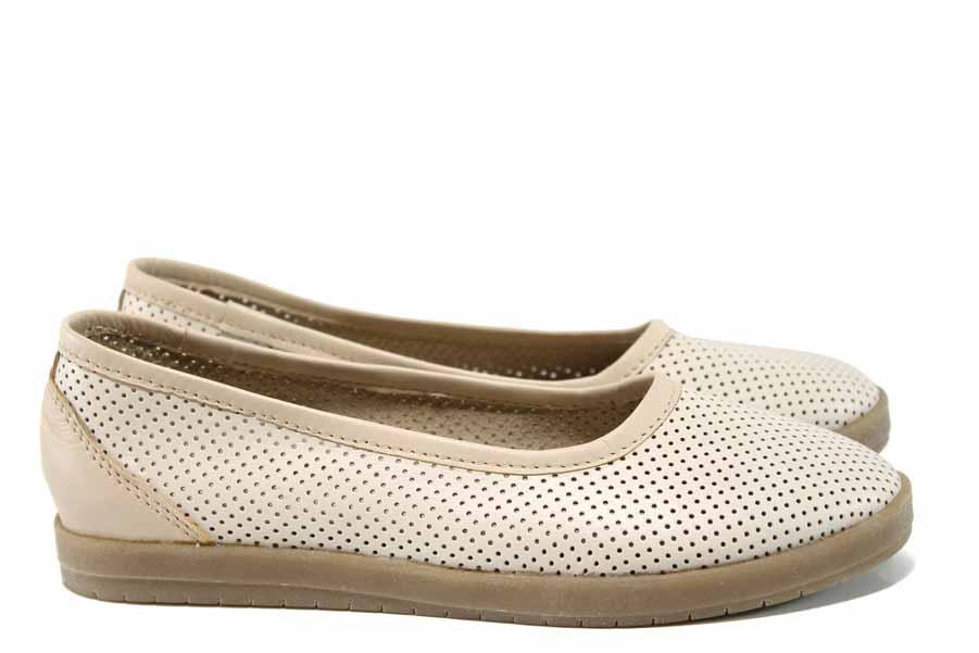 Равни дамски обувки - естествена кожа - бежови - EO-12567