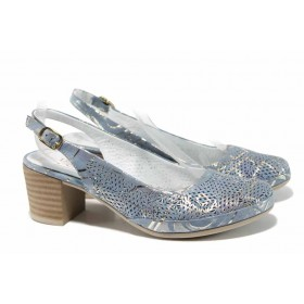 Дамски обувки на среден ток - естествена кожа - сини - EO-12566