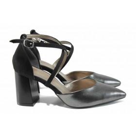 Дамски сандали - висококачествена еко-кожа - сиви - EO-12564