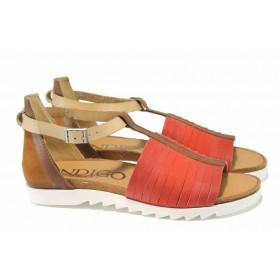 Дамски сандали - естествена кожа - червени - EO-12654