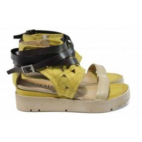 Дамски сандали - естествена кожа - жълти - EO-12653