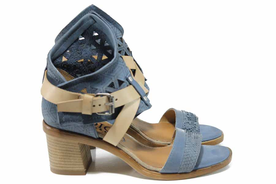 Дамски сандали - естествена кожа - сини - EO-12652