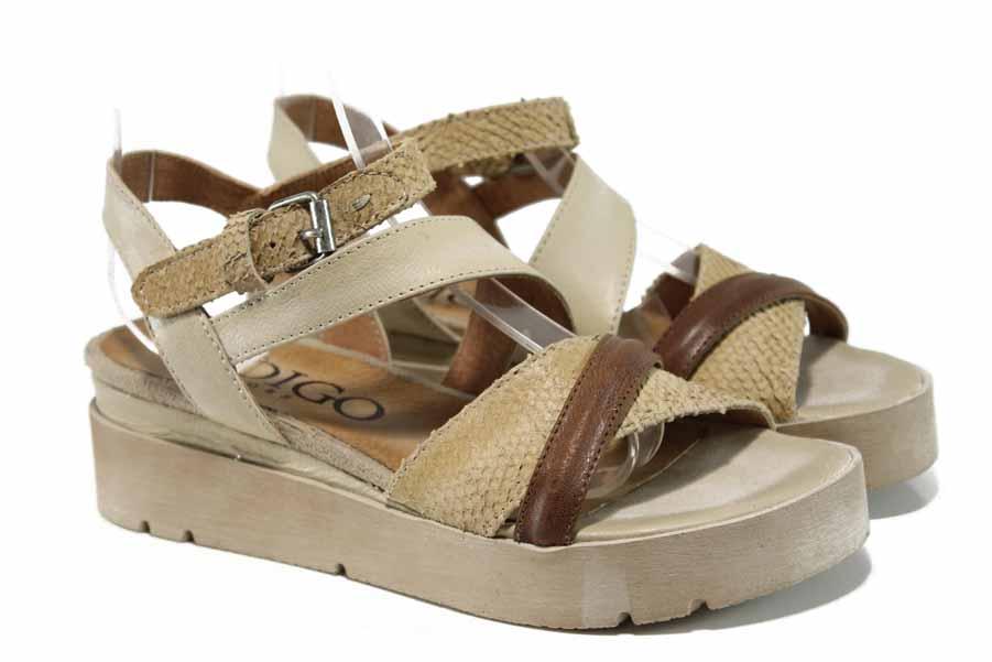 Дамски сандали - естествена кожа - бежови - EO-12655