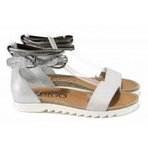 Дамски сандали - естествена кожа - бели - EO-12656