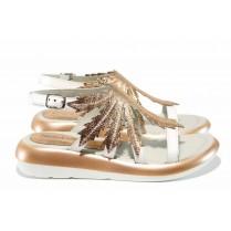Дамски сандали - естествена кожа - бели - EO-12643