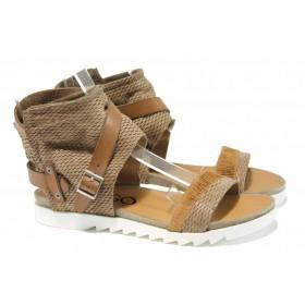 Дамски сандали - естествена кожа - бежови - EO-12651