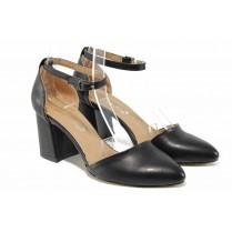 Дамски обувки на среден ток - висококачествена еко-кожа - черни - EO-12642