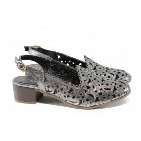 Дамски обувки на среден ток - естествена кожа - сиви - EO-12640