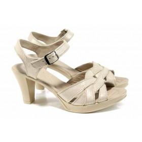 Дамски сандали - естествена кожа - бежови - EO-12647
