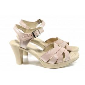 Дамски сандали - естествена кожа - розови - EO-12645
