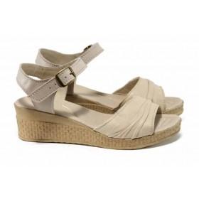 Дамски сандали - естествена кожа - бежови - EO-12649