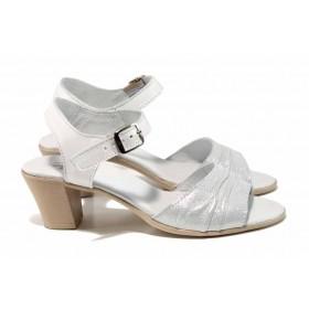Дамски сандали - естествена кожа - бели - EO-12648