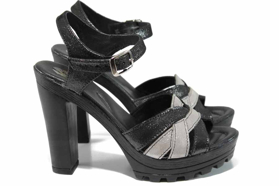 Дамски сандали - естествена кожа - черни - EO-12644