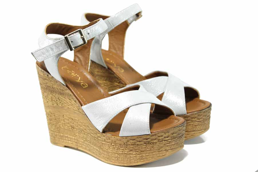 Дамски сандали - естествена кожа - бели - EO-12693