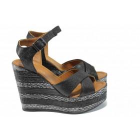 Дамски сандали - естествена кожа - черни - EO-12694