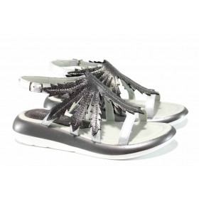 Дамски сандали - естествена кожа - сребро - EO-12695