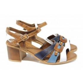 Дамски сандали - естествена кожа - сини - EO-12696