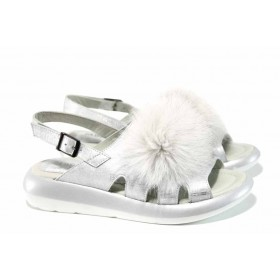 Дамски сандали - естествена кожа - сребро - EO-12692