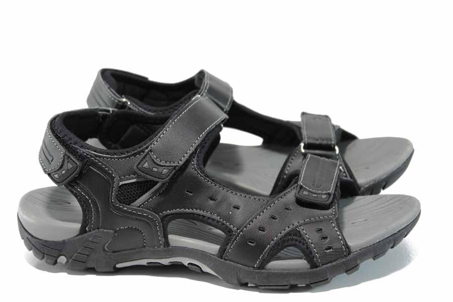 Дамски сандали - висококачествена еко-кожа - черни - EO-12680