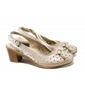 Дамски обувки на среден ток - естествена кожа - бежови - EO-12698