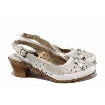 Дамски обувки на среден ток - естествена кожа - бели - EO-12697