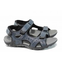 Дамски сандали - висококачествена еко-кожа - тъмносин - EO-12681