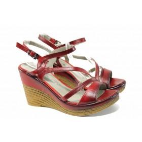 Дамски сандали - естествена кожа - червени - EO-12690