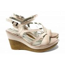 Дамски сандали - естествена кожа - бежови - EO-12691