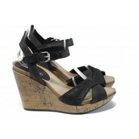 Дамски сандали - естествена кожа - черни - EO-12748