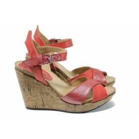 Дамски сандали - естествена кожа - червени - EO-12747
