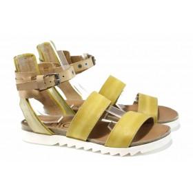 Дамски сандали - естествена кожа - жълти - EO-12743