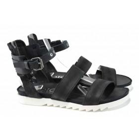 Дамски сандали - естествена кожа - черни - EO-12742
