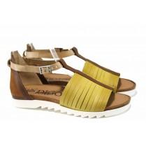 Дамски сандали - естествена кожа - жълти - EO-12744