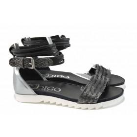 Дамски сандали - естествена кожа - черни - EO-12745