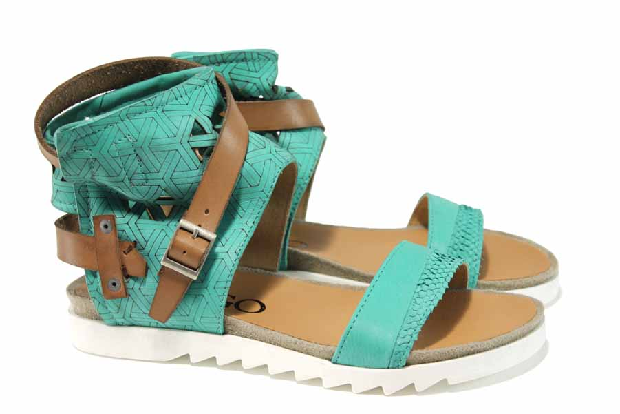 Дамски сандали - естествена кожа - зелени - EO-12746